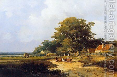 Farmer with herd on countryroad by Jan Hendrik Weissenbruch - Reproduction Oil Painting