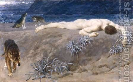 Dead Hector by Briton Rivière - Reproduction Oil Painting