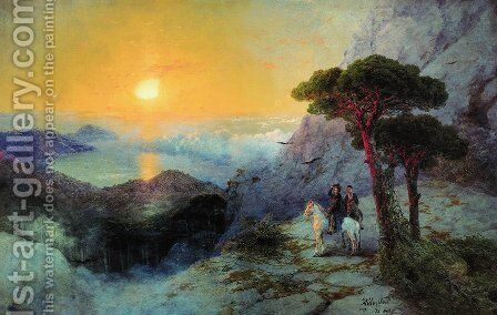 Pushkin at the top of the Ai-Petri Mountain at sunrise by Ivan Konstantinovich Aivazovsky - Reproduction Oil Painting