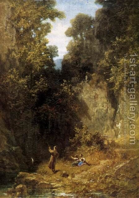 The fisherman by Carl Spitzweg - Reproduction Oil Painting