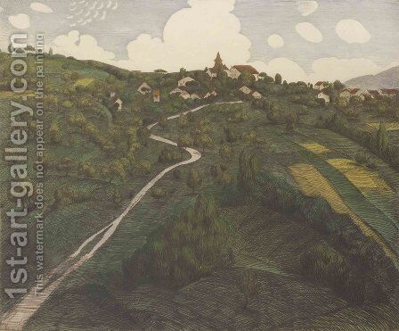 Landscape of Belmont, near Lausanne by Theophile Alexandre Steinlen - Reproduction Oil Painting