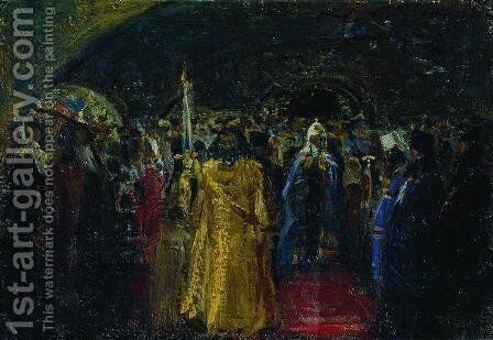 Exit of Patriarch Hermogenes by Ilya Efimovich Efimovich Repin - Reproduction Oil Painting
