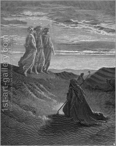 Abraham, God and Two Angels by Gustave Dore - Reproduction Oil Painting