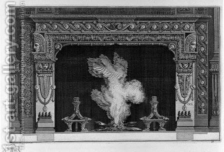 Fireplace with garland frieze applicant and cameos by Giovanni Battista Piranesi - Reproduction Oil Painting