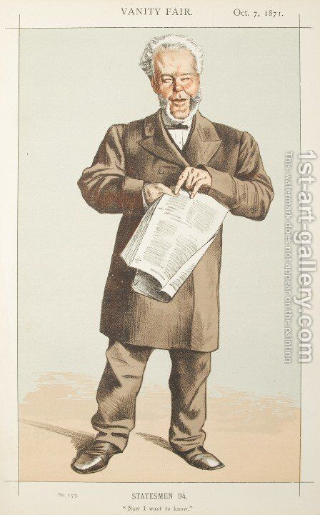 Statesmen No.940 Caricature of Alderman Andrew Lusk M.P. by James Jacques Joseph Tissot - Reproduction Oil Painting