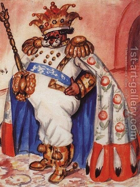 King wearing a crown and purple by Boris Kustodiev - Reproduction Oil Painting