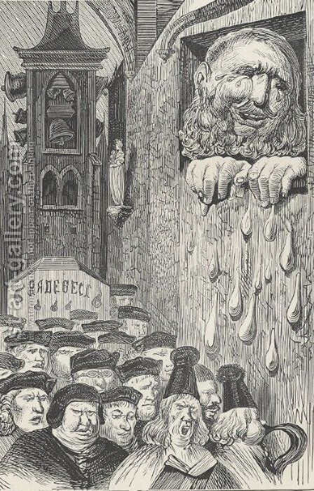 Frontispiece of all five books of Gargantua and Pantagruel by Gustave Dore - Reproduction Oil Painting