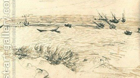 Beach, Sea, and Fishing Boats by Vincent Van Gogh - Reproduction Oil Painting