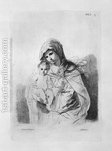 The Virgin and Child in half-figure in her arms, from Guercino 2 by Giovanni Battista Piranesi - Reproduction Oil Painting