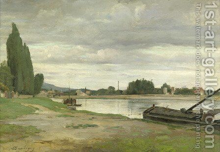 River landscape with barge moored by Charles-Francois Daubigny - Reproduction Oil Painting