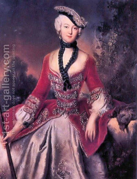 Portrait of Sophie Marie Grafin Voss by Antoine Pesne - Reproduction Oil Painting