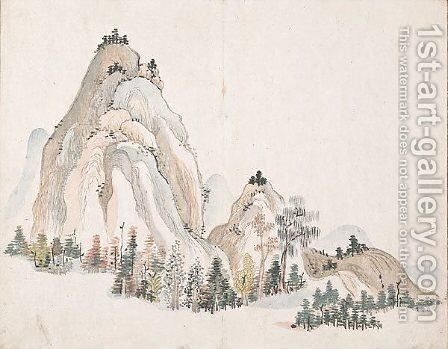 Untitled (Mountains) by Ike no Taiga - Reproduction Oil Painting
