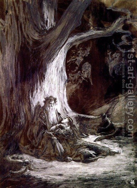Vivien and Merlin by Gustave Dore - Reproduction Oil Painting