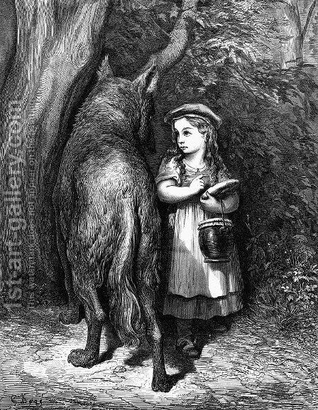 Red Riding Hood meets old Father Wolf by Gustave Dore - Reproduction Oil Painting