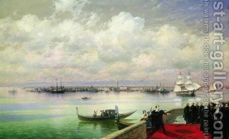 Byron visiting mhitarists on island of St. Lazarus in Venice by Ivan Konstantinovich Aivazovsky - Reproduction Oil Painting