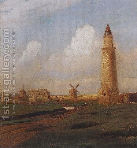 Village Bulgarians. Small minaret and the ruins of the White House by Alexei Kondratyevich Savrasov - Reproduction Oil Painting