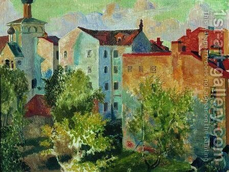 View from the window by Boris Kustodiev - Reproduction Oil Painting