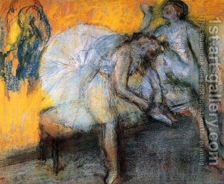 Two Dancers in Yellow and Pink 2 by Edgar Degas - Reproduction Oil Painting