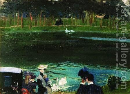 In the Bois de Boulogne by Boris Kustodiev - Reproduction Oil Painting
