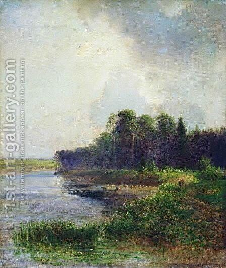 Riverside by Alexei Kondratyevich Savrasov - Reproduction Oil Painting