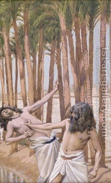 Moses Slays an Egyptian by James Jacques Joseph Tissot - Reproduction Oil Painting
