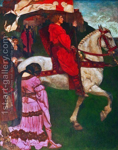 La quete et accomplissement du Saint-Graal by Edwin Austin Abbey - Reproduction Oil Painting