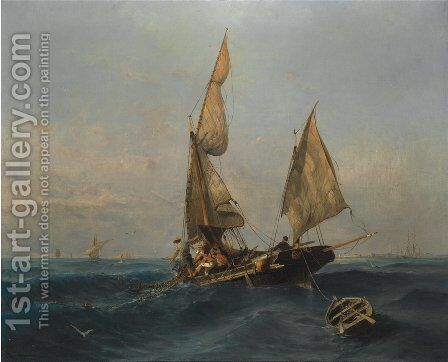 Fishing boat in choppy waters by Constantinos Volanakis - Reproduction Oil Painting