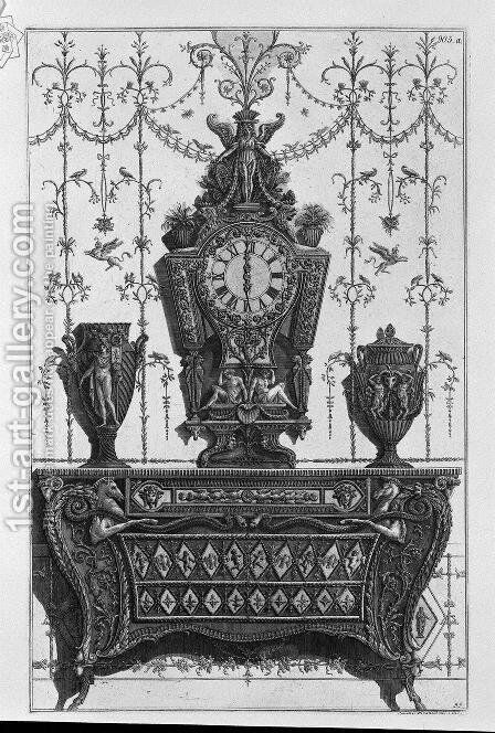 Chest of drawers with patterns of diamonds, on a clock and two decorative vases by Giovanni Battista Piranesi - Reproduction Oil Painting