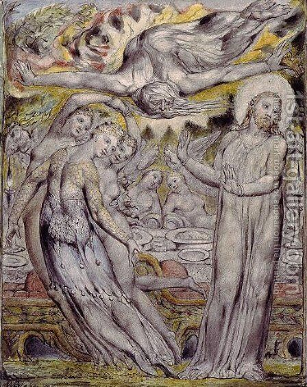 Christ refusing the banquet offered by Satan by William Blake - Reproduction Oil Painting
