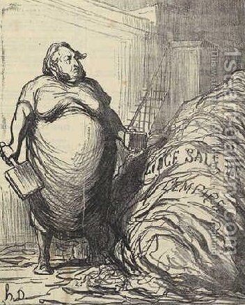 Rouher. I can never wash all this (dirty linen of the Empire) by Honoré Daumier - Reproduction Oil Painting