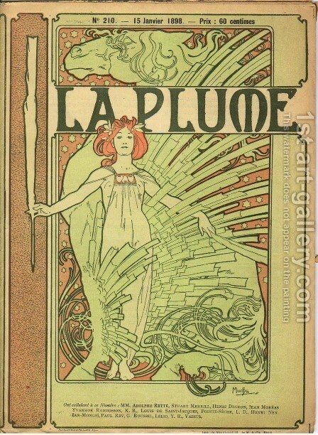Cover composed by Mucha for the french literary and artistic Review La Plume by Alphonse Maria Mucha - Reproduction Oil Painting