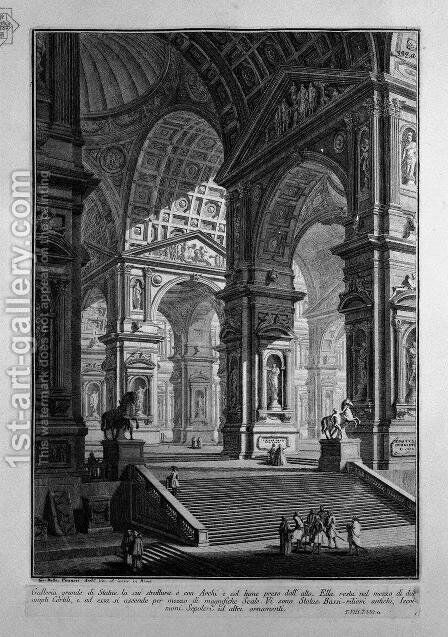 Great gallery of statues in the middle of two large courtyards (the title and added copper) by Giovanni Battista Piranesi - Reproduction Oil Painting