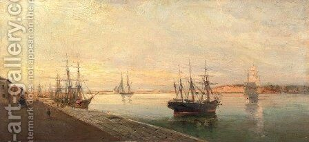 The port of Volos 2 by Constantinos Volanakis - Reproduction Oil Painting
