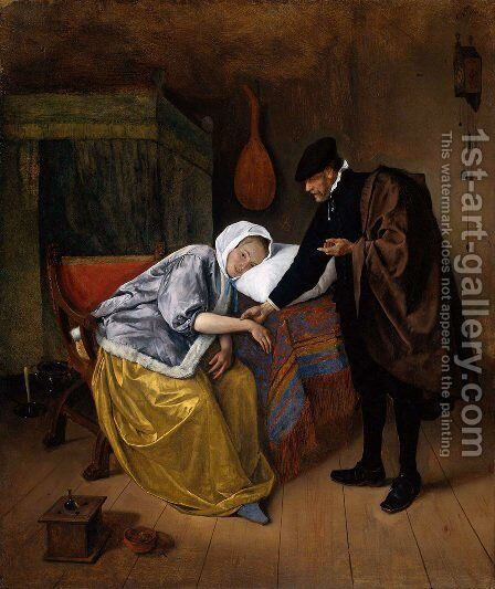 Sick woman by Jan Steen - Reproduction Oil Painting