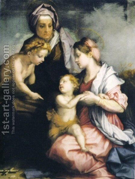 Madonna and Child with St. Elizabeth and St. John the Baptist by Andrea Del Sarto - Reproduction Oil Painting