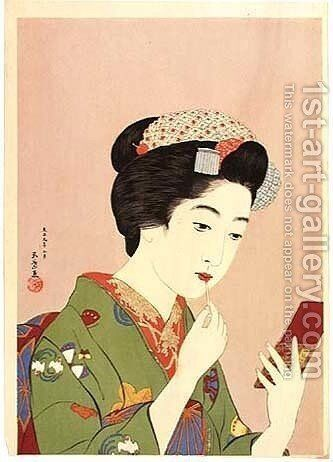 Woman Holding Lipstick by Goyo Hashiguchi - Reproduction Oil Painting