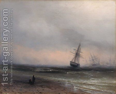 Seascape in Crimea by Ivan Konstantinovich Aivazovsky - Reproduction Oil Painting