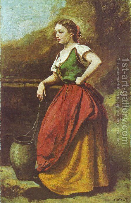 Young Woman at the Well by Jean-Baptiste-Camille Corot - Reproduction Oil Painting