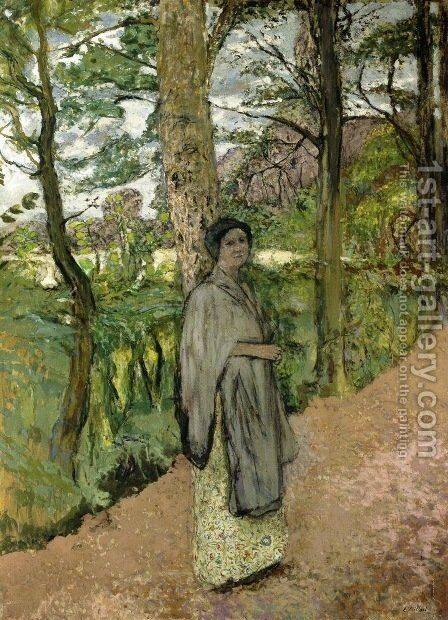 Woman in Grey in a Lane by Edouard  (Jean-Edouard) Vuillard - Reproduction Oil Painting