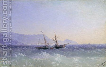 Crimean landscape with a sailboat by Ivan Konstantinovich Aivazovsky - Reproduction Oil Painting