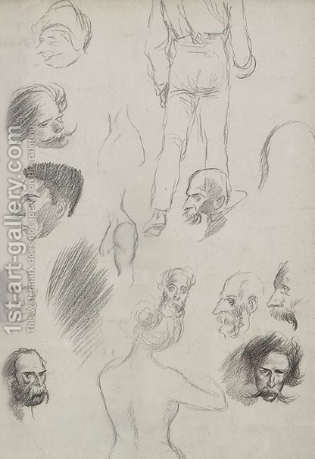 Sketches of people by Theophile Alexandre Steinlen - Reproduction Oil Painting