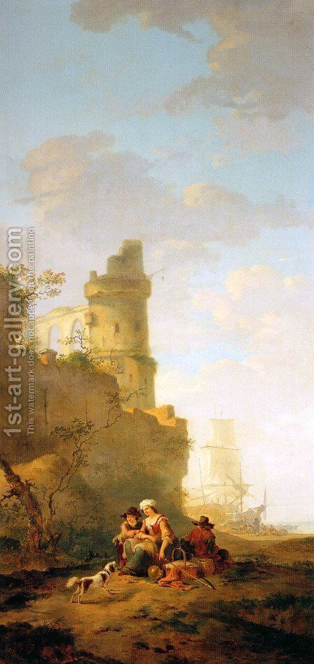 Italian landscape with ruin by Jacob van Strij - Reproduction Oil Painting