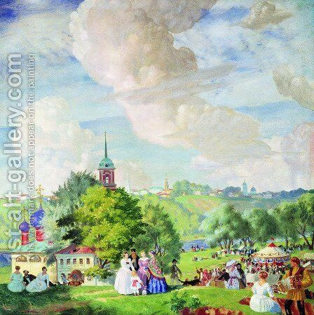 Summer holiday by Boris Kustodiev - Reproduction Oil Painting