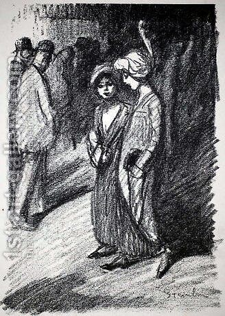 Two Women by Theophile Alexandre Steinlen - Reproduction Oil Painting
