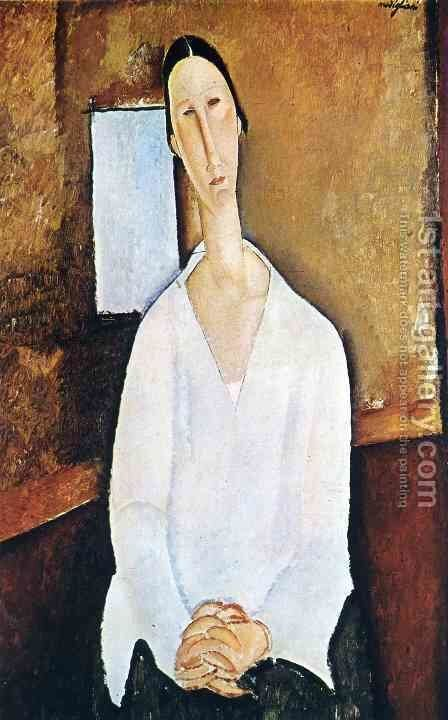 Madame Zborowska with clasped hands by Amedeo Modigliani - Reproduction Oil Painting