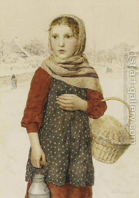 Madchen in Winterlandschaft by Albert Anker - Reproduction Oil Painting