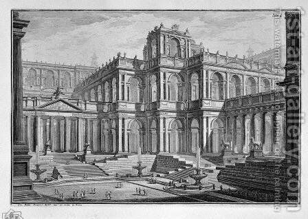 Ancient Roman Forum surrounded by arcades, with loggias by Giovanni Battista Piranesi - Reproduction Oil Painting