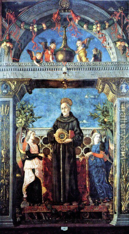 St. Bernardine of Siena with the Angels by Andrea Mantegna - Reproduction Oil Painting