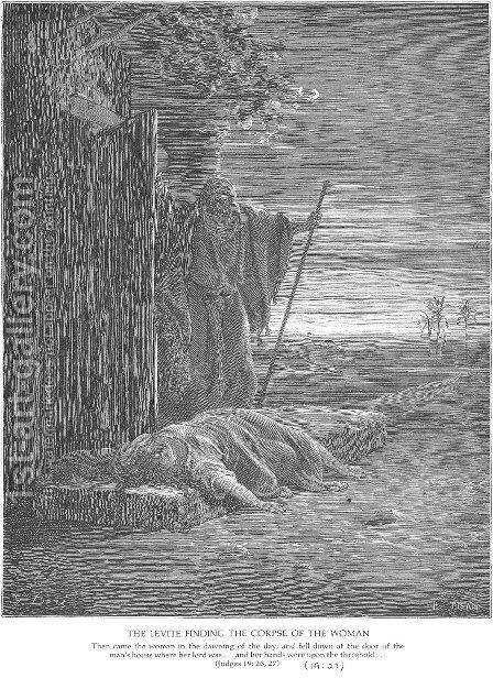 A Levite Finds a Woman's Corpse by Gustave Dore - Reproduction Oil Painting