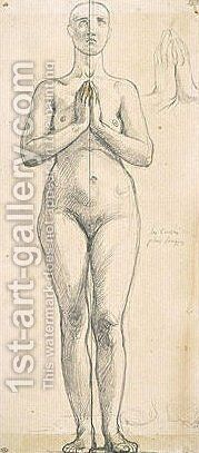 Nude woman standing, front view, hands clasped in front of the chest by Jean Auguste Dominique Ingres - Reproduction Oil Painting